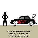 Car modifications. Kevin pimps up his ride to attract the ladies Stock Illustration