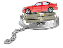 Car with money in bear trap Stock Photos
