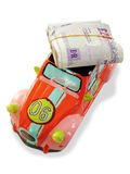 Car money box. Photo of money on a car money box Royalty Free Stock Photos