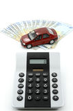 Car, money and calculator. Calculator, money and small car against white background stock images