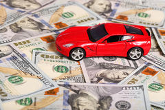 Car on money cash Stock Photos