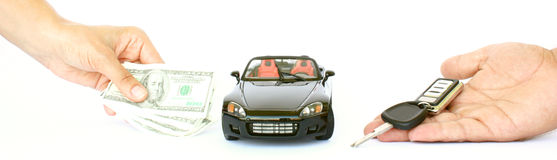 A car,money and key. A female hand with money,a car and male hand holding key  on a white background Stock Image