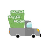 Car and money. Pile of dollars in trunk of your truck. Machine c Royalty Free Stock Photography