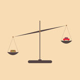 Car and money on scales. Vector of the concept of balance between money and car on scales Stock Images