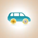 Car money. Vector illustration. Car money. Coins car. Vector illustration Royalty Free Stock Image