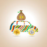 Car with money. Vector illustration. Car with money. Color auto. Vector illustration Royalty Free Stock Images