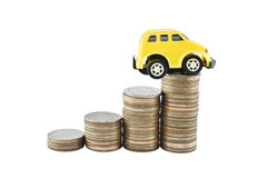 Car and money on white background with clipping paths. Royalty Free Stock Photography