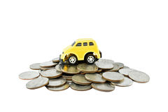Car and money on white background with clipping paths. Stock Photo