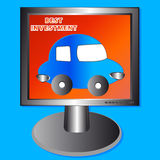 The car in the monitor Royalty Free Stock Images