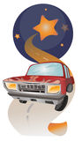 Car. Moon full of stars . Car in the night. Long road Stock Illustration