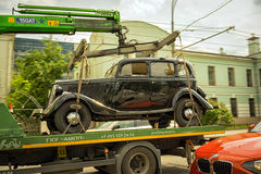 Car. Moscow, Russia - May 27, 2016: vintage german motor car Horch 853 on the tow truck on the streets of Moscow Stock Photos