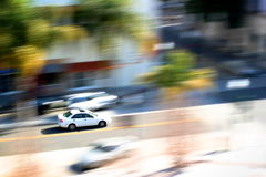 Car In Motion. View of a car moving in the street below Royalty Free Stock Photos