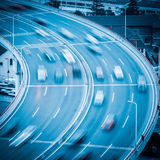 Car motion blur on the approach bridge Royalty Free Stock Image