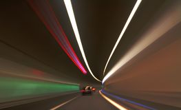 Car Motion inside Tunnel. With colorful effect Royalty Free Stock Photos