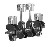 Car motor engine pistons with crankshaft isolated Stock Image