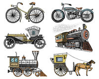 Car, motorbike, Horse-drawn carriage, locomotive. engraved hand drawn in old sketch style, vintage passengers transport. Car, motorbike, Horse-drawn carriage Royalty Free Stock Photos