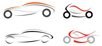 Car and motorcycle. Motorcycle and sportive car on white background -  isolated illustration. Can be used as logo or emblem. Modern vehicles Stock Photography