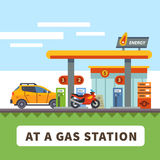 Car and motorcycle at a gas station Royalty Free Stock Images