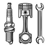 Car or motorcycle repair parts vector objects. Car or motorcycle repair parts set of vector detailed objects and design elements in monochrome style isolated on stock illustration