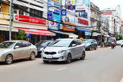 Car and motorcycle traffic, Vientiane Royalty Free Stock Photo