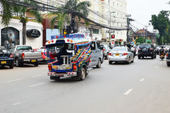 Car and motorcycle traffic, Vientiane Royalty Free Stock Photos
