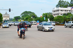 Car and motorcycle traffic, Vientiane Stock Photo