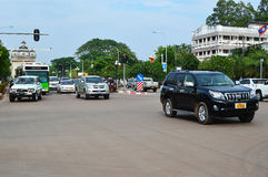 Car and motorcycle traffic, Vientiane Royalty Free Stock Image
