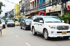 Car and motorcycle traffic, Vientiane Royalty Free Stock Photography