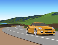 Car on mountain road. Illustration of the Porsche 911 moving along a mountain road Royalty Free Stock Image