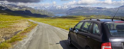Car on  a Mountain Road. Car on  a small mountain road in Norway Stock Images