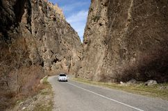 Car on the mountain road of Noravank canyon,Armenia,Caucasus,Asia Royalty Free Stock Photo