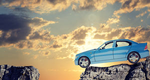 Car on mountain top Stock Images
