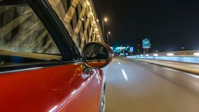 Car moves at fast speed at the night streets timelapse hyperlapse drivelapse.