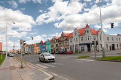 Car moving by empty streets in Kladno city near Prague, Czech Republic, Europe Stock Images