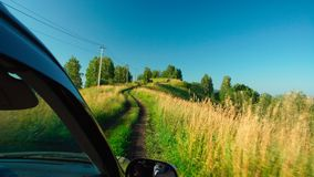 Car is moving on impassable road in Altay, Russia Royalty Free Stock Image