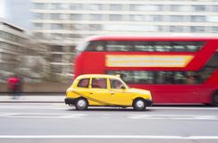 Car moving in London city. Blurred background in motion royalty free stock photos