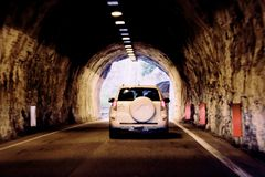 The car is moving rapidly through the tunnel. unsharply blurred.  stock photo