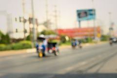 Car moving on the road in Thailand. Royalty Free Stock Photography