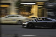 A car moving at speed with a blur effect on the background and vehicle. A car moving at speed with a blur effect on the background and vehicle royalty free stock photo