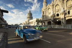 Car moving on streets of Havana, Cuba Stock Photos