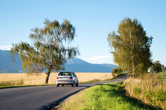 Car moving to High Tatra mountains Royalty Free Stock Images