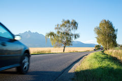 Car moving to High Tatra mountains Stock Images