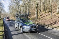 The Car of Movistar Team - Paris-Nice 2017 royalty free stock photo