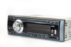 Car mp3 radio player. Over white background royalty free stock photo