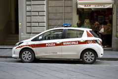 Car of the municipal police on the streets of Florence Stock Photography