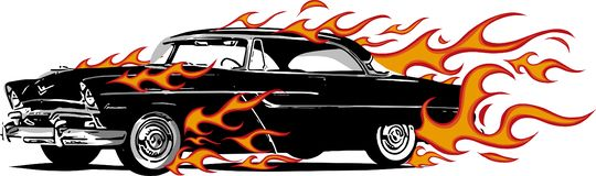 Car muscle old 70s vector illustration with flames. Car muscle old 70s vector illustration stock illustration