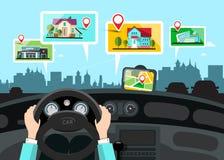 Car Navigation with City Public Buildings Map. Vector vector illustration