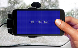 Car navigation device. No signal from portable device for navigation of car Royalty Free Stock Photo