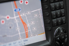 Car navigation, gps. A big car navigation system stock photography