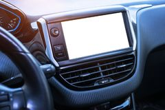 Car navigation system display isolated for mockup. Modern car interior stock images